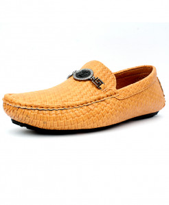Camel Brown Front Buckle Style Loafer Shoes DR-197