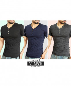 Pack Of 3 V-Neck Button Style T-Shirts BT-2342