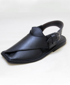 Black Leather Peshawari Style Sandal OM-5095