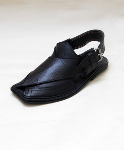 Black Leather Peshawari Sandal OM-5096