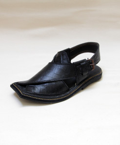 Black Textured Leather Peshawari Sandal OM-5097