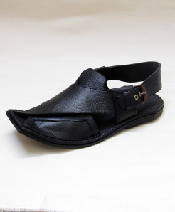 Black Leather Balochi Sandal OM-5099