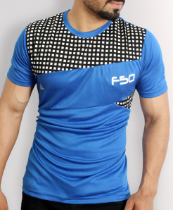 FSO Blue Sports Shirt With Black White Checkered