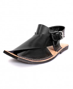 Black Leather Handcrafted Peshawari Sandal HCL-007