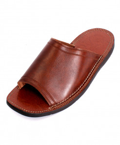 Brown Leather Handcrafted Stylish Slipper