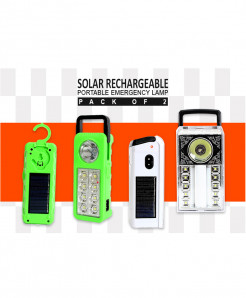 Pack Of 2 Solar Rechargeable Emergency Lamp SL-7001