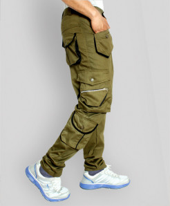 Army Green Tipping Style Cargo Trousers TK-412