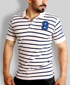 Pink With Blue Stripers Stylish Polo Shirt