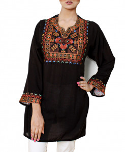 Black Embroidered Neck Stylish Short Kurti VL-2812AP