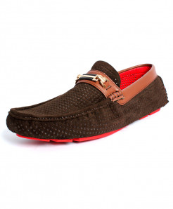 Dark Brown Dotted Design Style Loafer Shoes DR-215