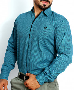 Teal Blue Dotted Formal Shirt NS-632MA