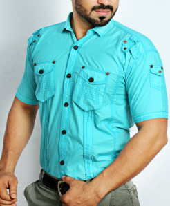 Aqua Blue Cargo Shirt NS-618MA