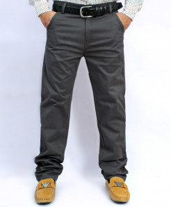 Dark Grey Back Pocket Design Cotton Pant NG-6544