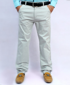 Light Grey Back Pocket Design Cotton Pant NG-6546