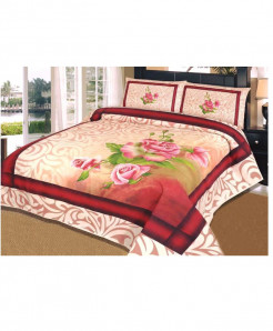 Red And White Floral Panel Style Bedsheet SY-151