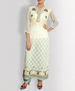 Silver White Designer Stitched Ladies Suit TP-5524
