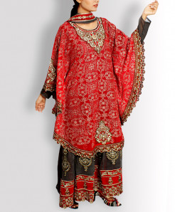 Red Jhilmil Designer Stitched Ladies Frock TP-6
