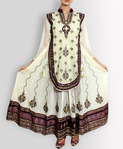 Off White Designer Stitched Ladies Frock TP-5521