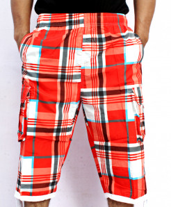 Red 2 Sides Pockets Checkered Shorts NG-2118