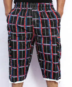 Black Red 2 Sides Pockets Checkered Shorts NG-2120