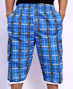 Dark Blue 2 Sides Pockets Checkered Shorts NG-2121