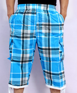 Light Blue 2 Sides Pockets Checkered Shorts NG-2122