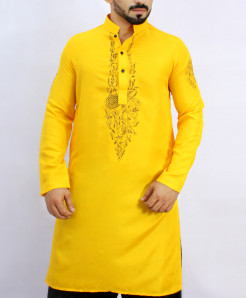 Golden Yellow Stylish Embroidered Kurta ARK-831