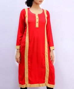 Red Ladies Kurta With Beige Border FLK-2015MA