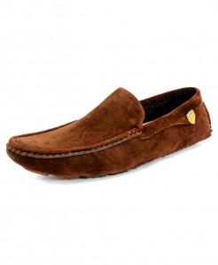 Brown Suede Side Buckle Style Loafer Shoes CB-5063