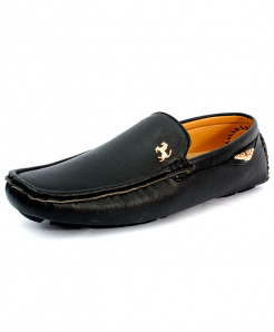 Black Stitched Side Buckle Style Loafer Shoes CB-5064