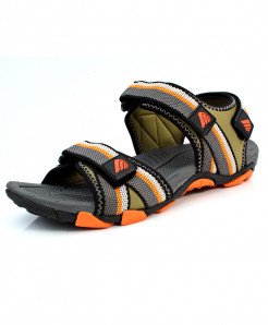 Grey Orange Tri Strap Casual Sandal DR-264