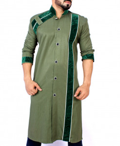 Olive Green Velvet Patch Style Kurta ARK-828