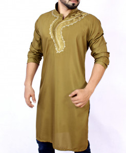 Dark Goldenrod Neck Embroidered Kurta ARK-834
