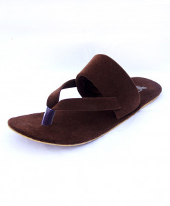 Choco Brown Velvet Thong Style Casual Slipper OM-5114
