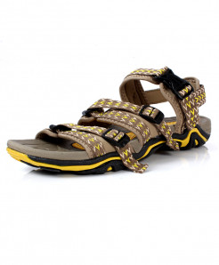 Brown Yellow Tri Strap Stylish Casual Sandal DR-5085