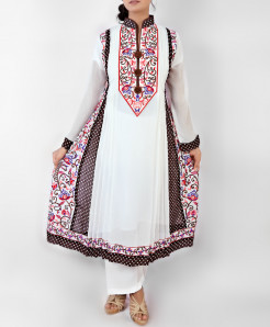 White And Brown Polka Dots Style Embroidered Ladies Suit NGL-001