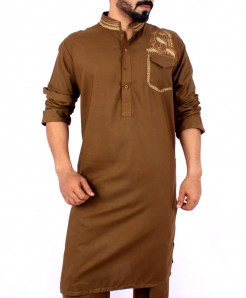 Choco Brown Front Embroidered Kurta Shalwar ARK-836