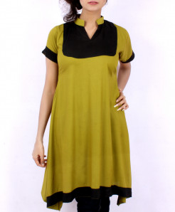 Jungle Green Black Contrast Style Kurti FLK-5139