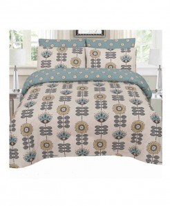 Grey Stylish Floral Cotton Bedsheet SY-225