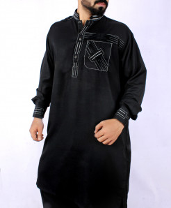 Black Threaded Pocket Style Kurta Shalwar Ark-838