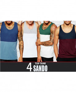 Pack Of 4 Multi Color Top Tank Sando TS-12588