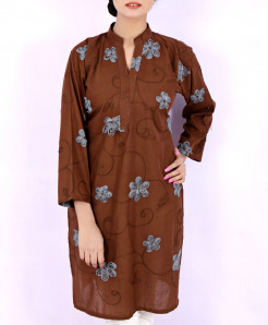 Woody Chicken Embroidered Ladies Kurti VRJ-1752