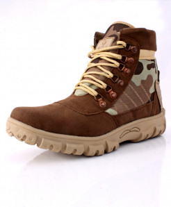 Choco Camouflage Stitched Design Long Boots DR-294