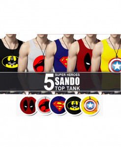 Pack Of 5 Super Heroes Top Tank Sando HS-1315