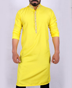 Yellow Neck Handwork Embroidered Style Kurta ARK-905