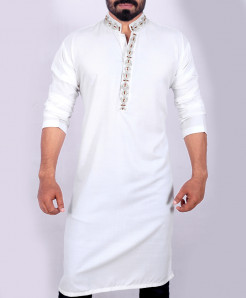 White Neck Style Embroidered Handwork Kurta ARK-910