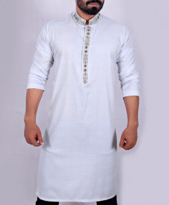 Grey Neck Style Embroidered Handwork Kurta ARK-911