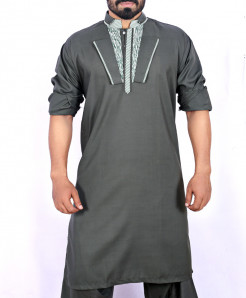 Grey Stylish Neck Kurta Shalwar ARK-914