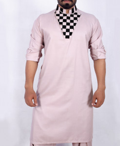 Light Pink Stylish Neck Kurta Shalwar ARK--915