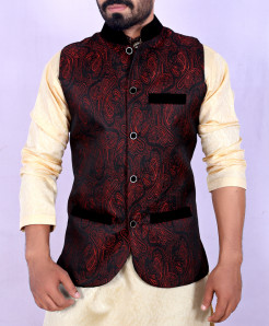 Red Black Banarsi Design Stylish Waistcoat ARK-923